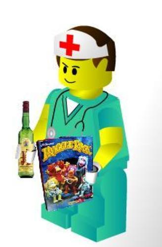 Lego enfermero bebiendo
